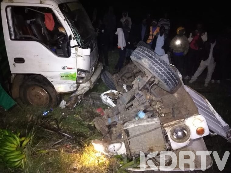 A man and his son lost their lives after involving in a grisly road accident after the vehicle they were traveling collided with a truck on the Nanyuki Nyeri road