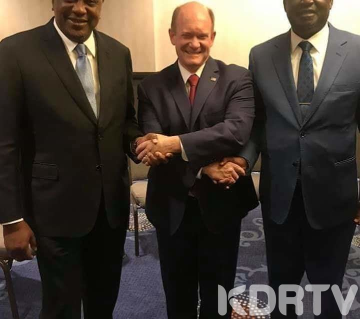 President Kenyatta, Raila Odinga and Democratic Congressman Coons at the 68th US Congress Breakfast Prayer